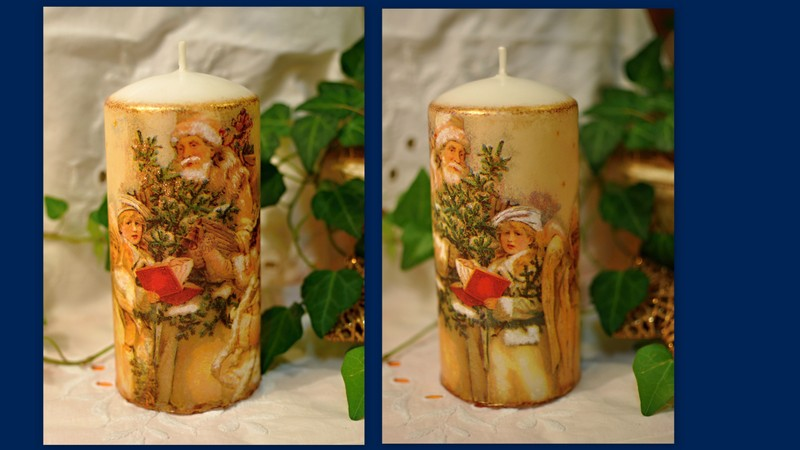 Vianočná sviečka s dekupážou | ajatka