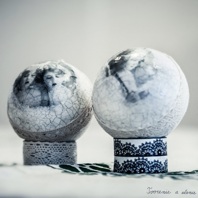 Vianočné gule - polystyrén zdobenýservítkovou technikou