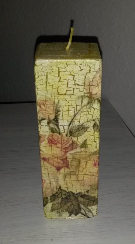 Sviečka zdobená servítkovou technikou - krakel