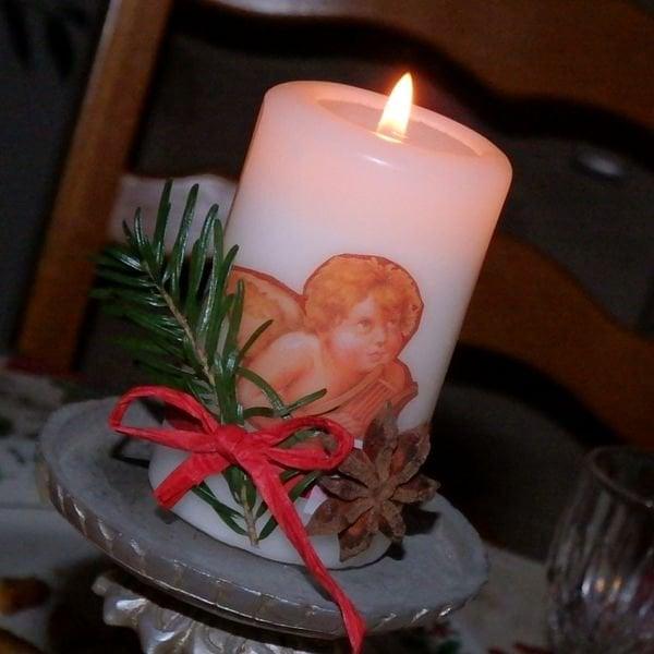 Vianočná sviečka s anjelikom - servítková technika | Kika K.