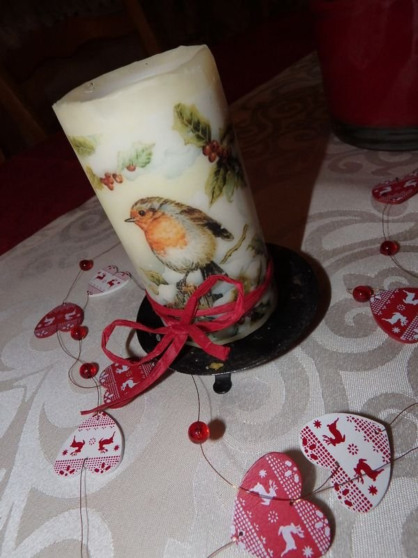 Vianočná sviečka zdobená servítkovou technikou | Kika K.