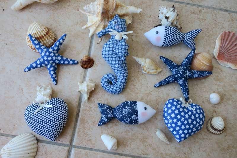 Šité morské dekorácie z modrotlače