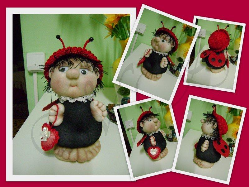 Zaľúbená lienka - šitá bábika