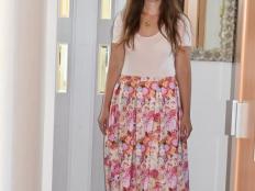 Dlhá sukňa so záhybmi bez strihu - foto postup