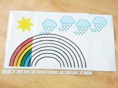 Neuveriteľne jednoduchá a zábavná hračka pre malé deti -  dúha, slnko, dážď - foto postup