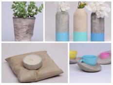 Jednoduché nápady na tvorenie s cementom. Kvetináč, miska, svietnik, váza - foto postup