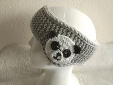 Pletená čelenka s pandou - foto postup