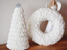 Vianočný veniec a stromček z odličovacích tampónov - foto postup