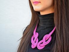 Náhrdelník z lana alebo šnúry V. ružový - foto postup