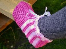 Postup na ružové papuče - ponožky - foto postup