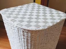 Mozaikový vrchnák na kôš z papierových ruličiek - foto postup