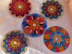 Maľované mandaly z CD - foto postup