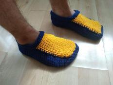 Návod na pánske pletené papuče - foto postup