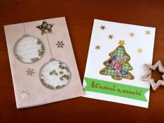 Postup na efektné vianočné pozdravy s flitrami - foto postup