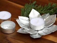Svietnik z obalov z čajových sviečok - foto postup
