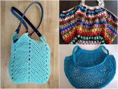 Háčkované sieťovky a tašky, na nákup aj na parádu. Návody a postupy - foto postup