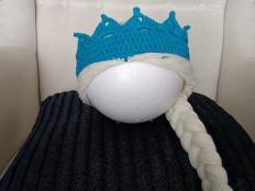 Háčkovaná korunka snehovej kráľovnej Elzy - foto postup