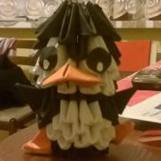 3d origami tučniačik