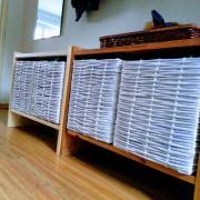 Papierové pletenie prvý pokus - krabice do chodby