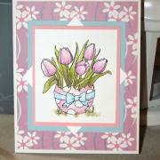 Tulipány v škrupinke - pohľadnica