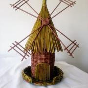 Veterný mlyn na fľašu - papierové pletenie