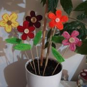 s chlapcami sme robili zápichy do kvetináčov z plsti