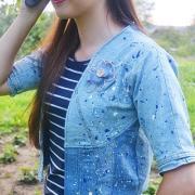 riflová bunda - recyklácia riflových nohavíc a sukne