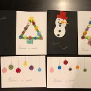 Vianočné pohľadnice vyrobené deťmi