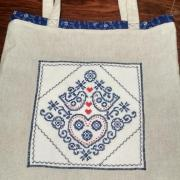Obojstranná nákupná taška vtáčiky modré