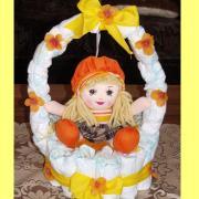 košík s bábikou