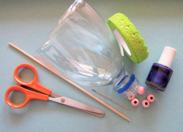 Dáždnik z PET fľaše pre bábiku 1
