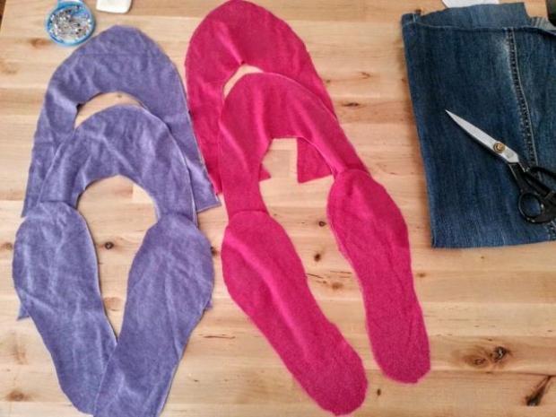 Ako ušiť papuče zo starých tričiek a riflí 3