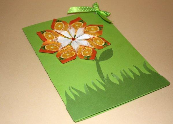 Pozdrav s kvetom z obalov z čajových sáčkov