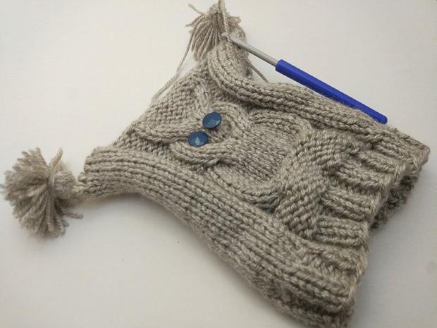 Detská pletená čiapka so sovou - návod 8