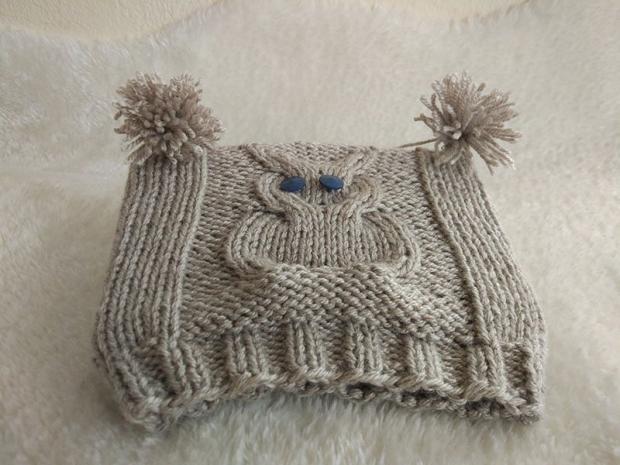 Detská pletená čiapka so sovou - návod 9