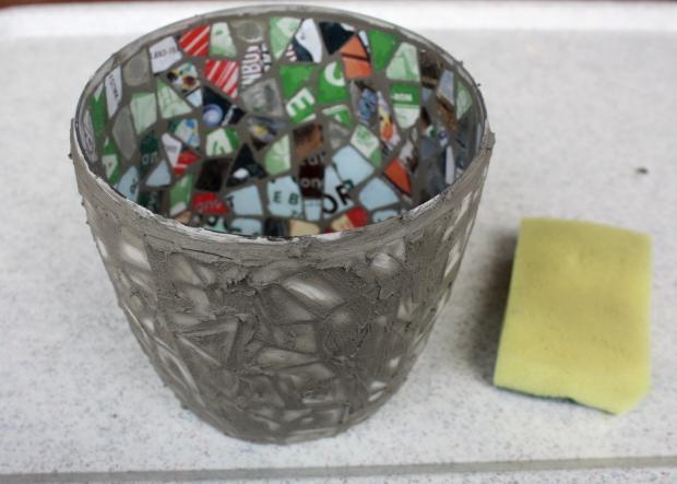 Postup na črepník s mozaikou z CD 10