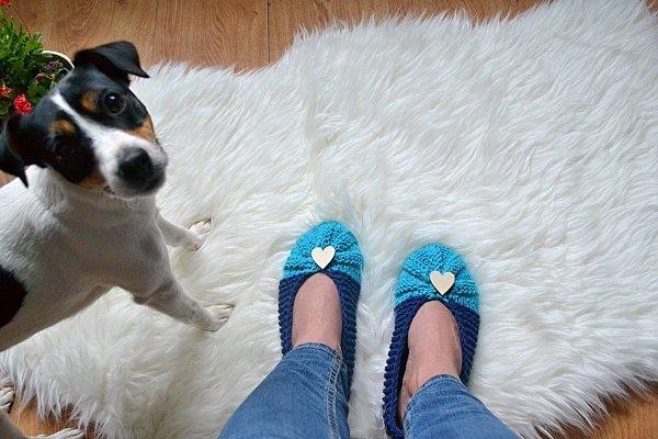 Pletené papuče modré, návod, postup
