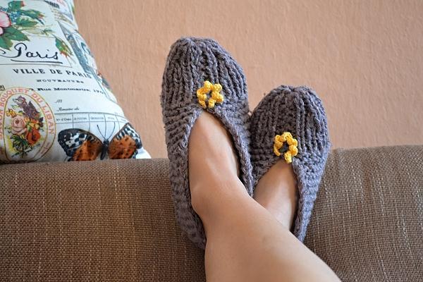 Pletené papuče šedé 3