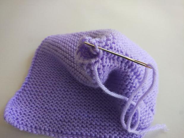 Návod na detskú čiapku z pleteného obdĺžnika 4