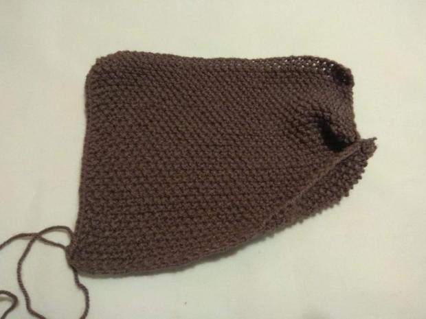 Návod na pletené papuče - zošité z jedného obdĺžnika. Veľmi jednoduché 3