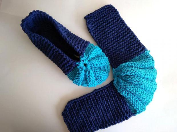 Pletené papuče modré 9