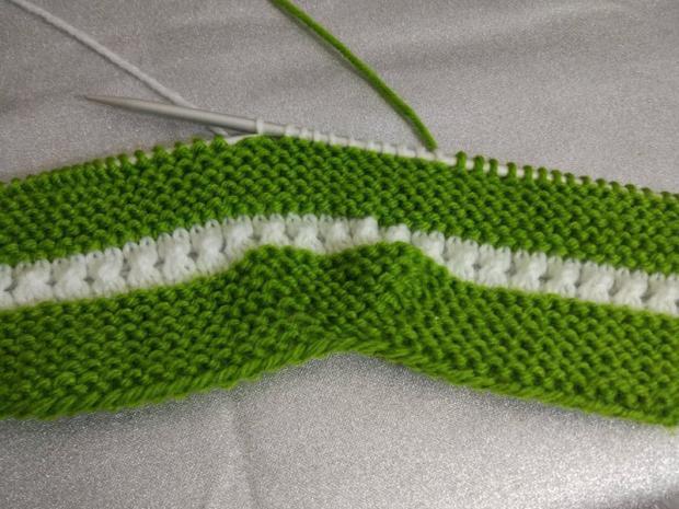 Návod na pletené  papučky pre bábätko 4