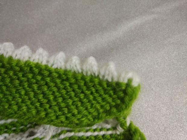 Návod na pletené  papučky pre bábätko 14