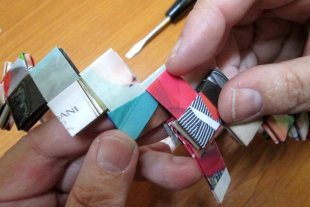Fotopostup na spájanie dielikov na papierové kabelky 11
