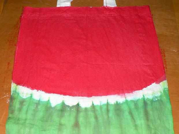 Ako zafarbiť tašku: melónový vzor - batika 3