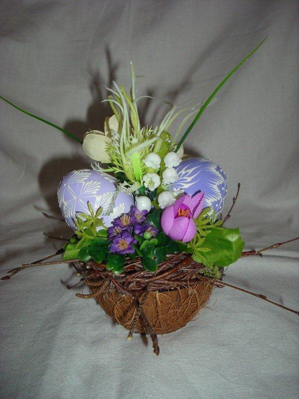 Fialová dekorácia v kokosovom orechu 991f05e53a8