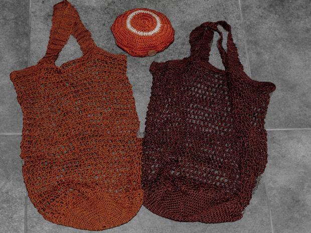 Háčkované sieťové tašky na nákup