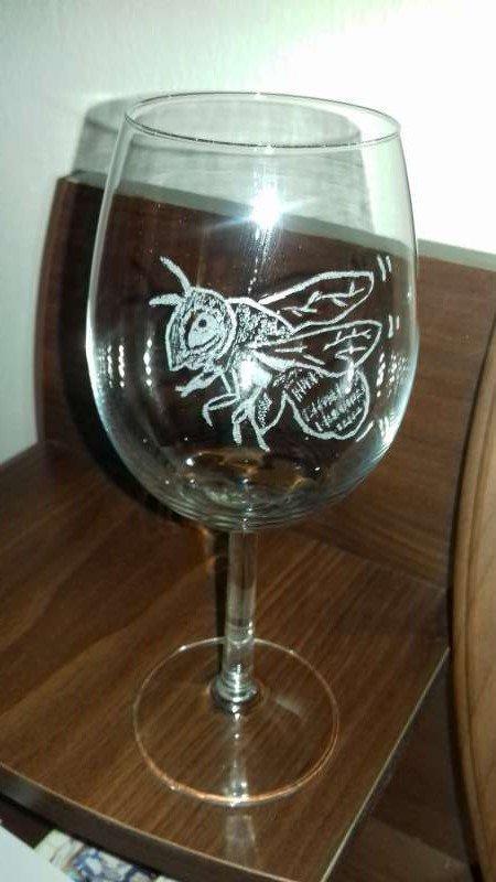 gravírované poháre, Na skle maľované