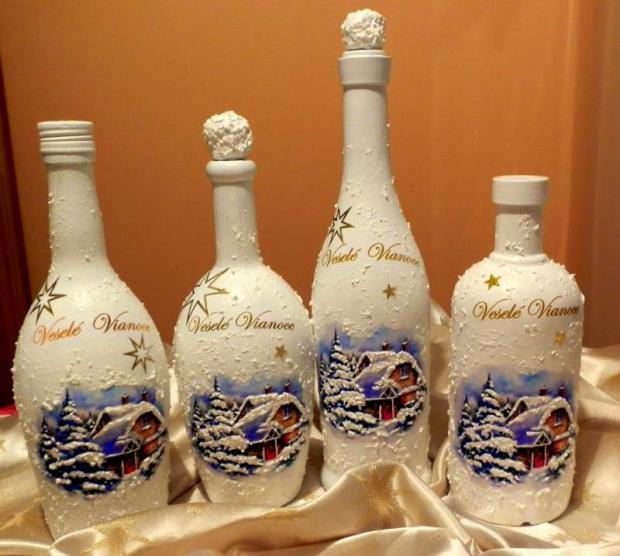 Vianočné fľaše decoupage