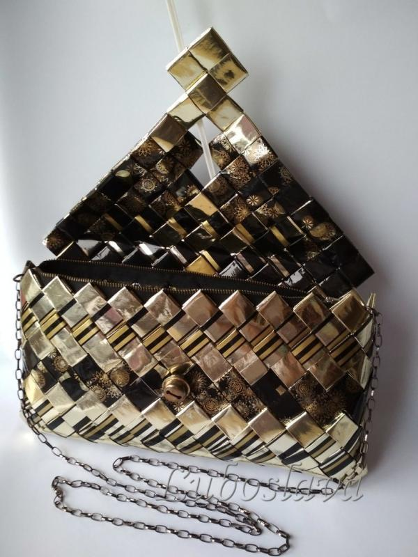 Čierno - zlatá kabelka otvorená, Papierové tašky
